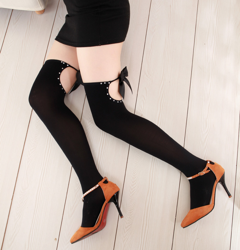 e3501a215afb4 2017 Fashion Womens Sexy Hollow Thigh High Stockings Bow Over Knee Socks  Long Stockings Nightclub Socks for Girl Wholesale Black-in Stockings from  Underwear ...