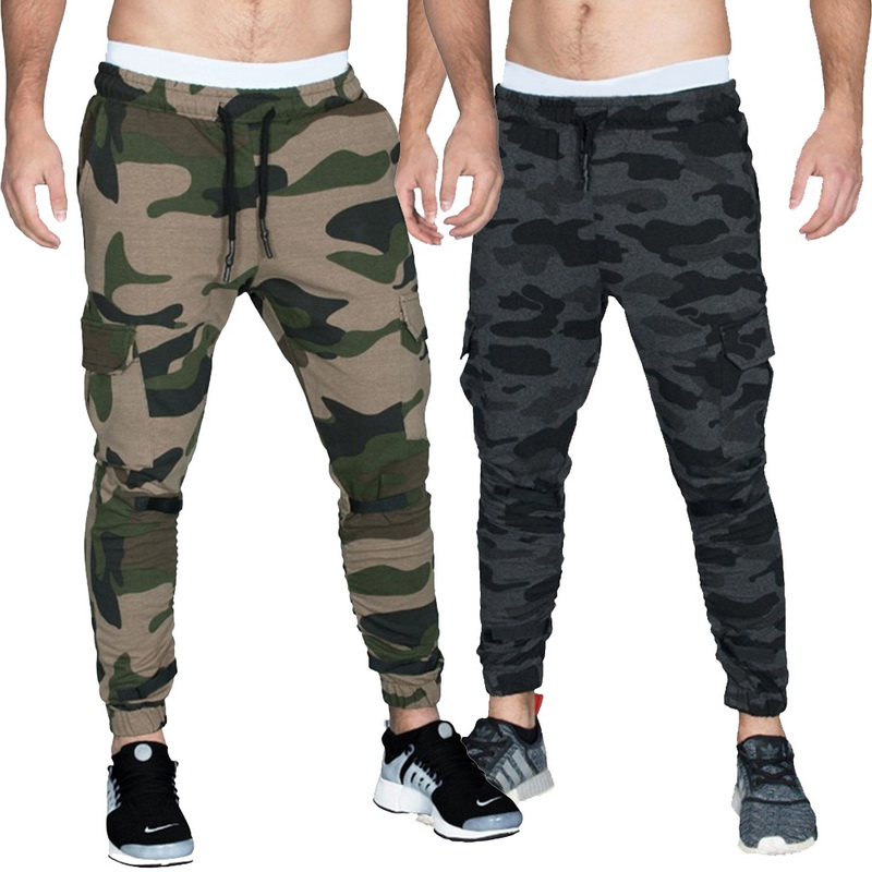 Vertvie Mens Fitness Sport Training Jogging Runnning GYM Sports Pants Camouflage Drawstring Male Sweatpants Full Legth Pants