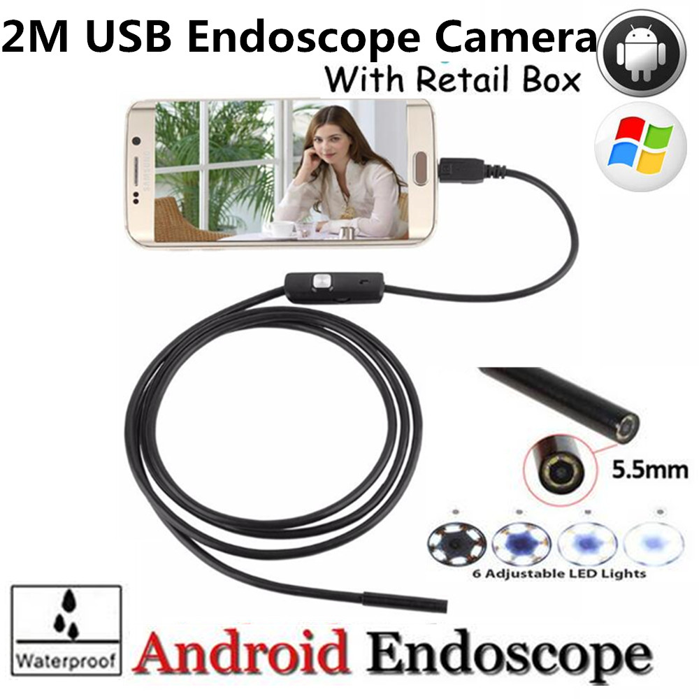 6 LEDs 5MM Lens USB Endoscope Camera IP67 Waterproof Snake Inspection Borescope Video Tube Pipe USB MINI Camera 2M for Android 2m mini android usb endoscope camera 5 5mm lens snake tube waterproof android phone otg usb endoscope borescope camera 6pcs led