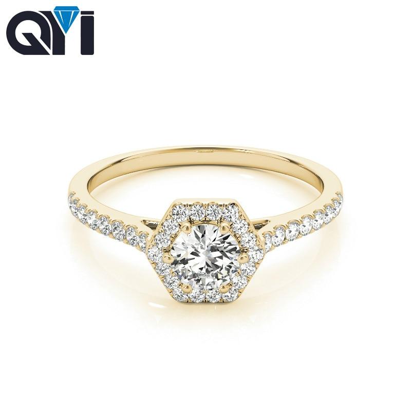 QYI Donna Design Unico Simulato anello di nozze di Diamante 14 k oro Giallo Anniversario di Fidanzamento Halo Anelli