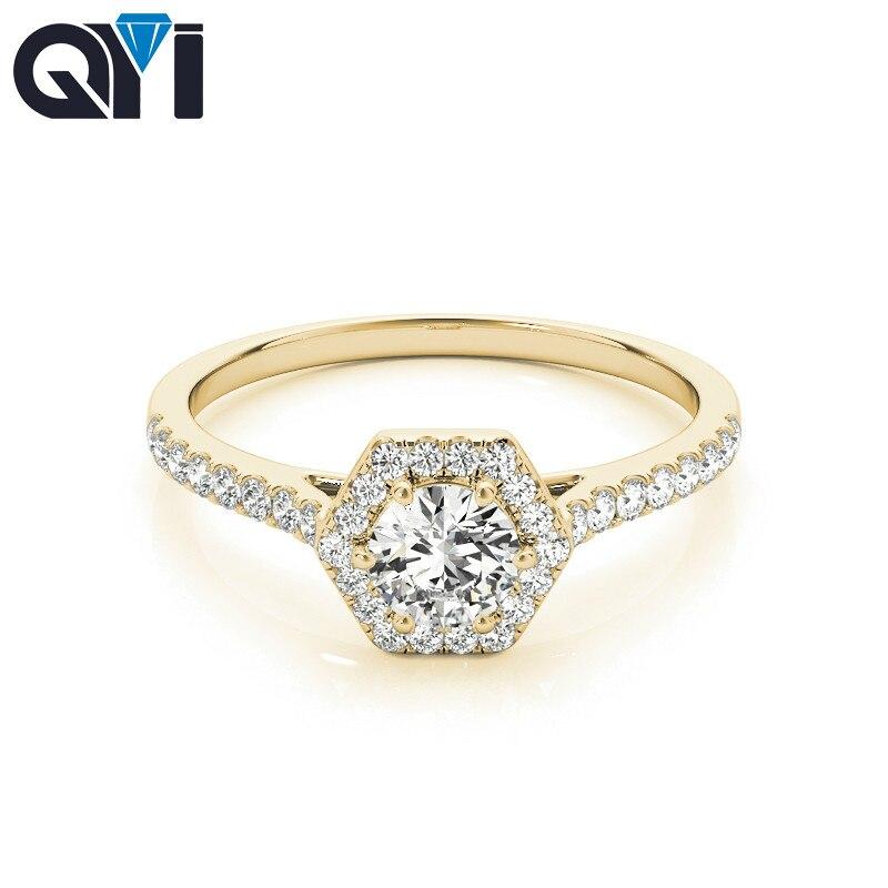 QYI Vrouw Unieke Ontwerp Gesimuleerde Diamond wedding ring 14 k Geel goud Anniversary Engagement Halo Ringen