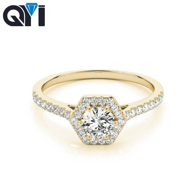 QYI Woman Unique Design Simulated Diamond wedding ring 14k Yellow gold Anniversary Engagement Halo Rings - 1