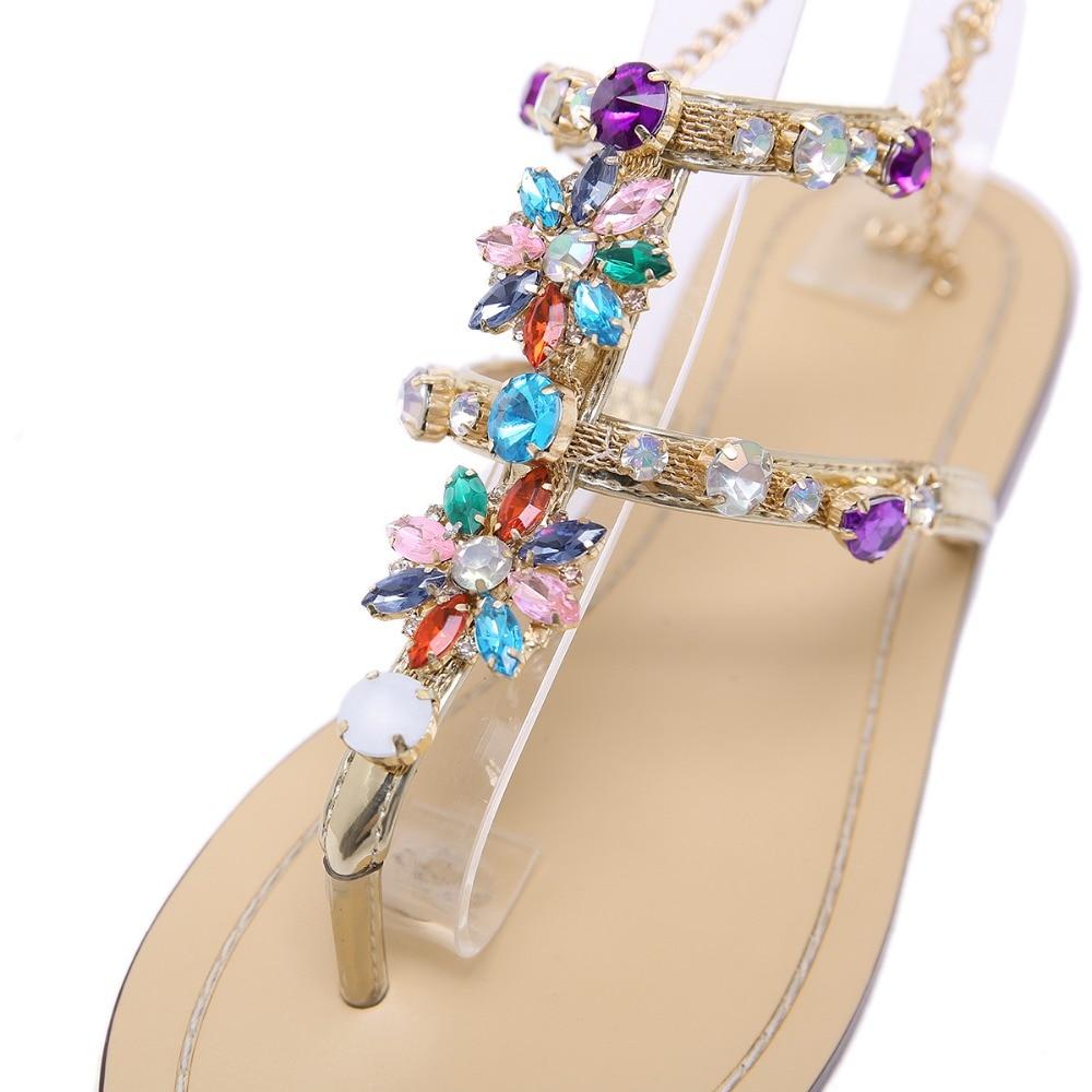HTB1iTr bcnrK1RjSspkq6yuvXXa4 6 Color Woman Sandals Women Shoes Rhinestones Chains Thong Gladiator Flat Sandals Crystal Chaussure Plus Size 46 tenis feminino