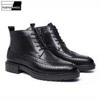 Винтажные ботинки на шнуровке; Мужские ботинки в британском стиле с острым носком из натуральной кожи; ботинки с перфорацией типа «броги»; З