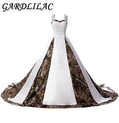 Gardlilac Бретели для нижнего белья Бальные платья Белый и камуфляж Свадебные Платья для женщин Свадебное платье с аппликацией Кружево до суда