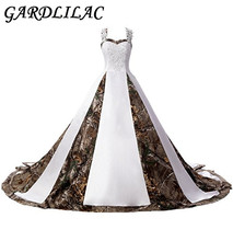 Gardlilac Straps Ball Gowns White and Camo Bridal Dresses Wedding Dress with applique Lace up Court train robe de mariee 2017