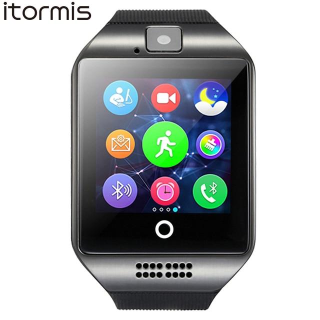 ITORMIS Bluetooth Смарт Умные Часы Сенсорный экран телефона sport Фитнес шагомер Камера sim-карта TF Q18 для Android IOS Телефон
