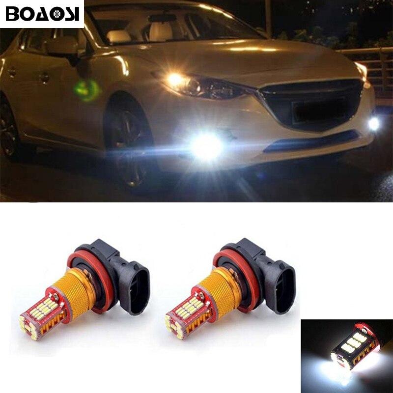 BOAOSI 2x Super White H8 H11 Samsung 4014 LED DRL Fog Light Lamp Bulb For mazda 3 5 6 xc-5 cx-7 axela atenza boaosi 2x h11 4014 32smd led fog light bulbs for mazda 3 6 cx 5 axela atenza car accessories