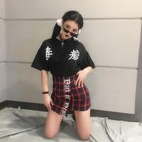 Japan Harajuku Red Plaid Punk Mini Skirt Bodycon Letter Character Fashion Stylish Skirt
