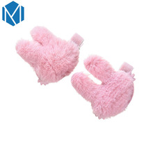 M MISM 1 Pair Cute Hairy Rabbit Shape Hairpins Women Headdress Colorful Soft Hair Clip for Girls Gift Accessories