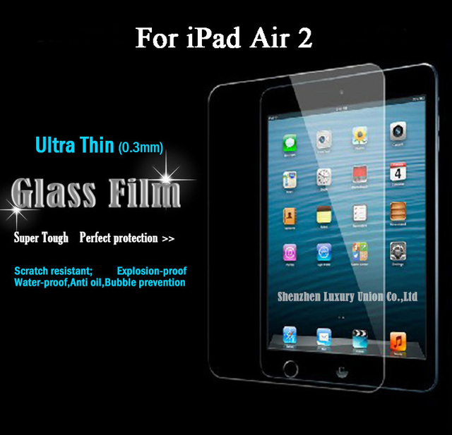 Для iPad Air 2 стекло экрана протектор премиум закаленного закаленное 0.3 мм защитную пленку с розничной упаковке для iPad 2 воздуха фильм
