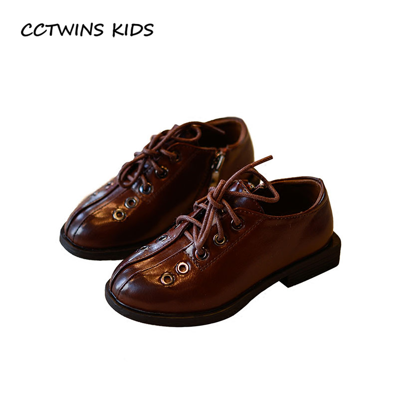 CCTWINS KIDS 2018 Spring Boy Pu Leather Lace-Up Children Fashion Black Shoe Baby Girl Brand Flat Toddler Brown GL1947 cctwins kids 2018 girl fashion gladiator sandal children pu leather flat shoe toddler brand barefoot sandal baby bg006
