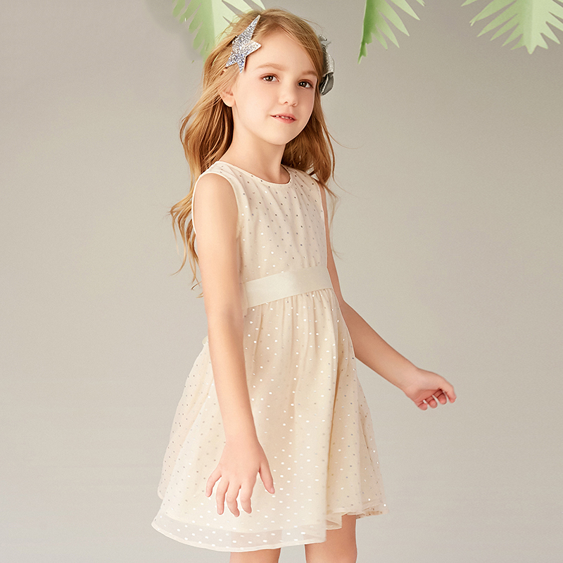 Girls chiffon dress summer dress childrens sleeveless core dress apricot sling band dressGirls chiffon dress summer dress childrens sleeveless core dress apricot sling band dress