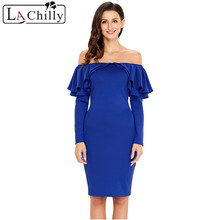 La Chilly Womens Dresses New Arrival 2018 Ruffles Strapless Dress Long  Sleeve Off Shoulder Bodycon Autumn bb15ac5979f2