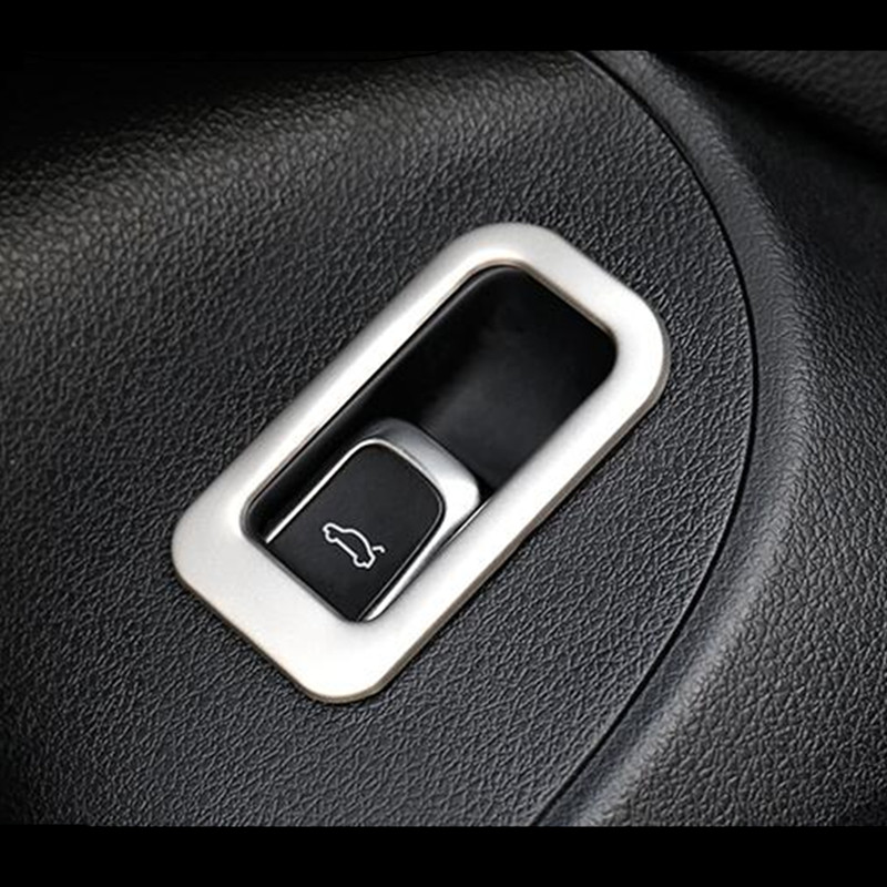 Car Door Trunk Switch Button Decoration Frame Cover Black Blue Sticker Trim For <font><b>Audi</b></font> <font><b>A4</b></font> B9 <font><b>2017</b></font> Interior Auto Accessories image
