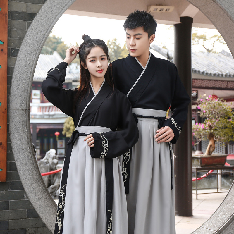 Men Women Hanfu Chinese Classical Dance Costume Folk Festival Outfit Rave Embroidery Performance Clothes Stage Costumes DF1134