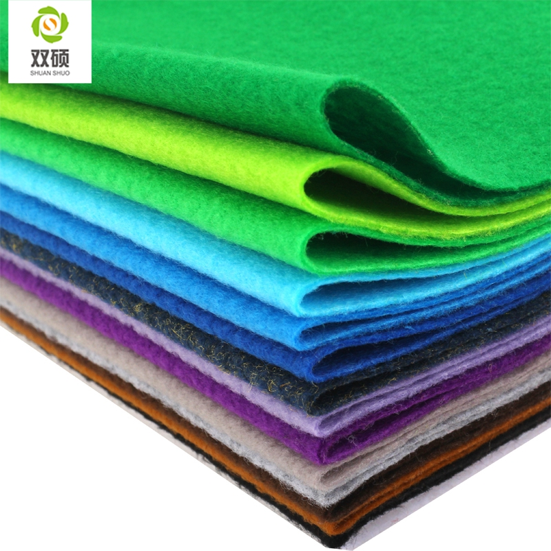 Shuanshuo New High Quality  Mix color Soft Polyester Nonwoven Felt Fabric DIY Felt Fabric Pack 1.5MM Thick 24PCS/lot 30X30CM