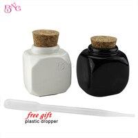 BeautyGaGa Supply Top Quality Porcelain Material Flower Printing 2pcs Lot Nail Art Empty Bottle Dapen Dish