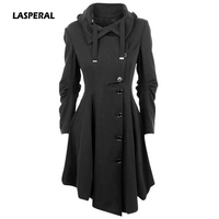 LASPERAL 2019 Spring Autumn Women Wool Blend Coat Irregular Turn down Collar Long Single Breasted Overcoat Slim Fit Coat Outwear