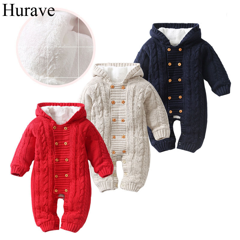 Hurave Winter Baby Romper cotton Long Sleeve Jumpsuit velvet padded double breasted New Born Baby boys and girls sweater hurave infant clothing color stripes cotton knit long sleeve jumpsuit velvet baby romper new born baby boys and girls clothes