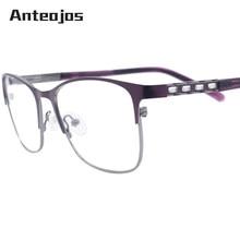 0d891d3c517 ANTEOJOS 2019 Fashionable Eyewear Handmade Women High End Rhinestones  Purple Metal Optical Eyeglasses Frame Oculos Grau Feminino