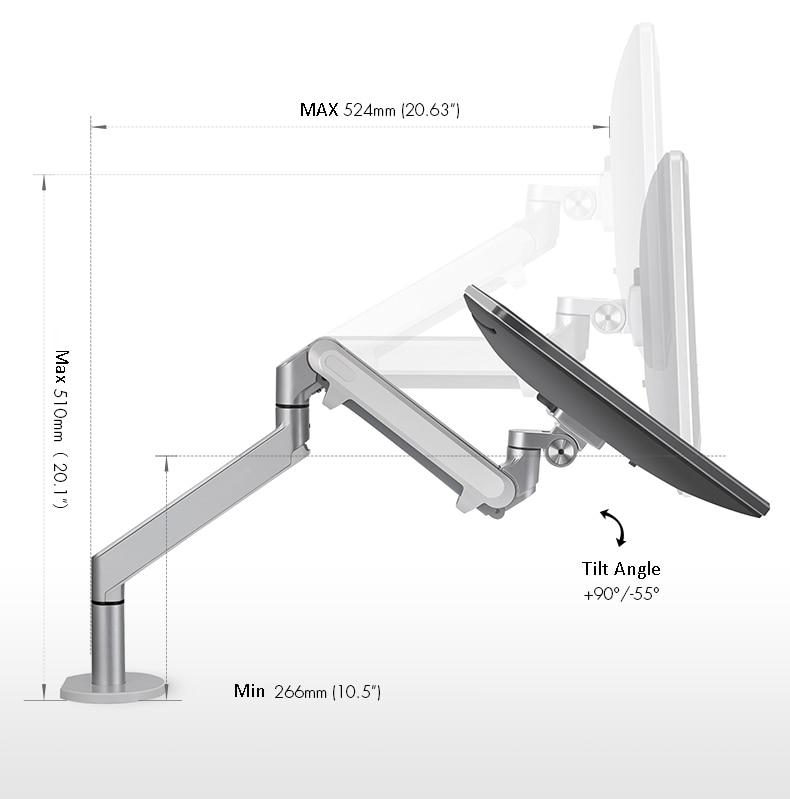 Hyvarwey OZ-1 Aluminum Height Adjustable 17-32 Inch LCD LED Monitor Holder Desk Stand Flexi Gas Strut Monitor Mount Bracket