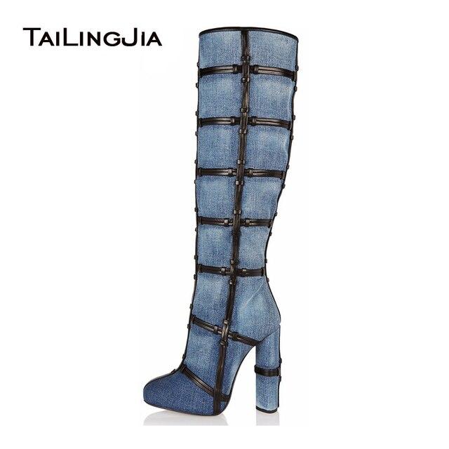 3d41303850e6 2018 New Arrival Blue Denim Boots Women Platform Thigh High Boots Round Toe  High Heel Over The Knee Boots stiletto Long Boots