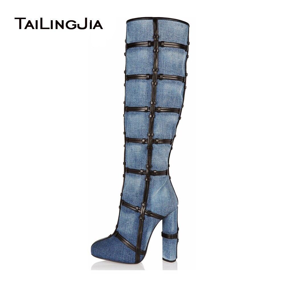 Zapatillas 2018 gran variedad de disfruta de precio barato € 67.31 |2018 nueva llegada botas de mezclilla azul mujer plataforma muslo  botas altas punta redonda tacón alto sobre la rodilla stiletto botas ...
