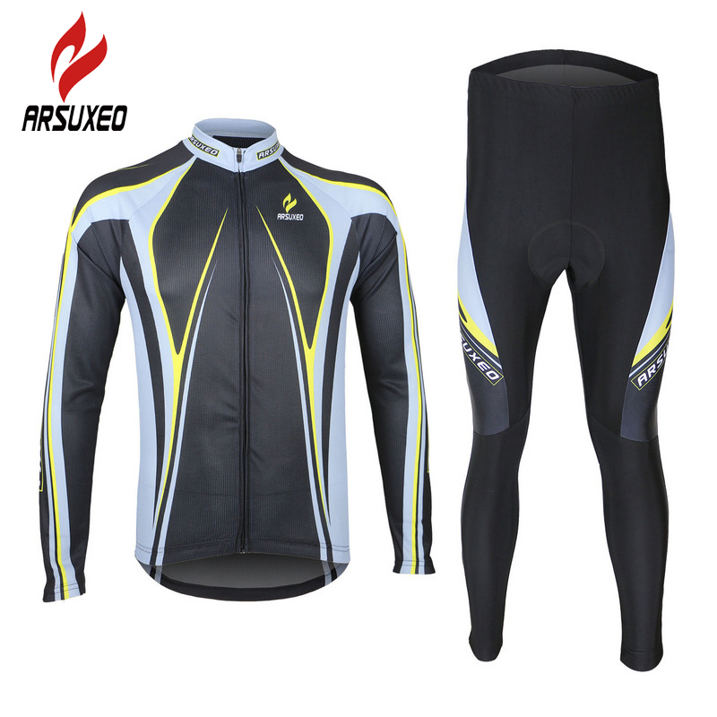 ARSUXEO Cycling Jerseys Clothing Sets Breathable Long Sleeve Road Bike Bicycle Jerseys Tights 3D Gel Padded Men Riding