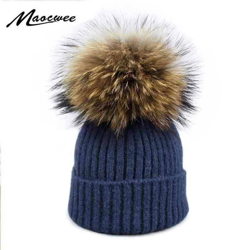 Girl Pom Pom   Beanie   Warm Knitted   Skullies   Kids Fur Pompom Hats Children Real Raccoon Fur Pompon women Winter Hat Cap Brand Bone