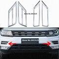 Передние противотуманные на решетке огни накладки на фонари Чехлы для Volkswagen VW Tiguan MK2 2017 2018 2019 автомобильные аксессуары
