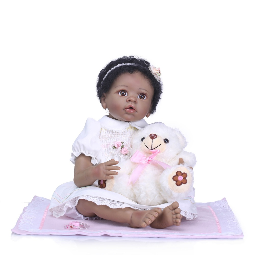 NPKCOLLECTION Lifelike Reborn Baby Dolls Black Skin Babies Doll Silicone Vinyl Doll Rooted Fiber Hair For