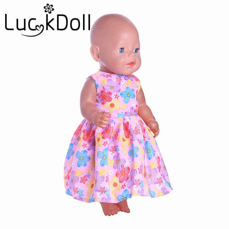 Vestido de la impresión de la moda de la muñeca de la suerte ajuste 18 pulgadas American 43cm ropa de la muñeca accesorios, juguetes de las muchachas, generación, regalo de cumpleaños