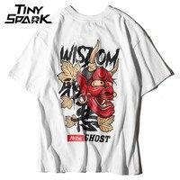 Mężczyźni Duchów T Shirt Hip Hop List Print Diabeł Mądrość mężczyzna w 100 Bawełniana Koszulka Harajuku Czarny Nastolatek Odzież Marki Miejskich Streetwear