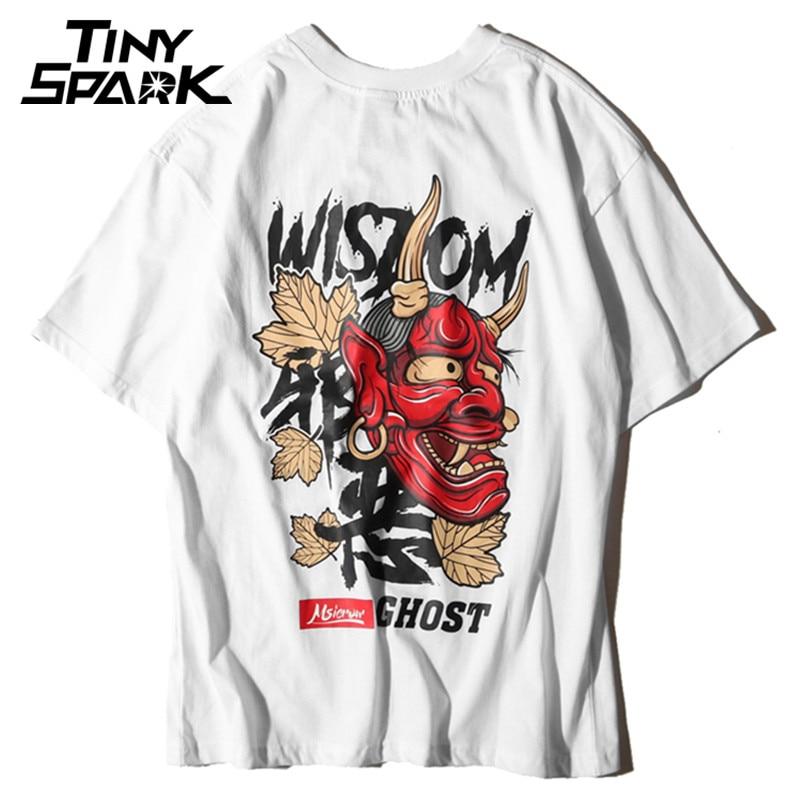 Men Ghost   T     Shirt   Hip Hop Letter Print Devil Wisdom Mens 100 Cotton   T  -  Shirt   Harajuku Black Teen Clothing Brand Urban Streetwear