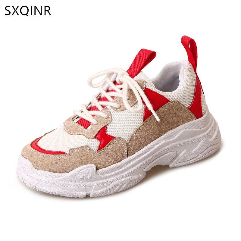 Женская Повседневная обувь Новинка 2018 года сетки Женская обувь модные кроссовки для девочек Удобная дышащая женская обувь на платформе
