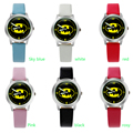 Cartoon Beautiful girl Batman style Color number dial children students girl's leather quartz   watch