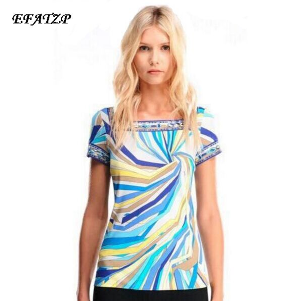 2015 Summer High Quality Runway Designer Blouse Women s Short Sleeve Geometric Printed Casual Sheath Tee