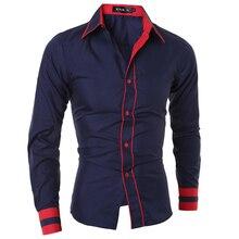 Мужская рубашка Мода 2016 года бренд мужской манжеты полосатый рубашку с длинными рукавами мужской Camisa masculina вскользь тонкий сорочка Homme XXL sjqwe
