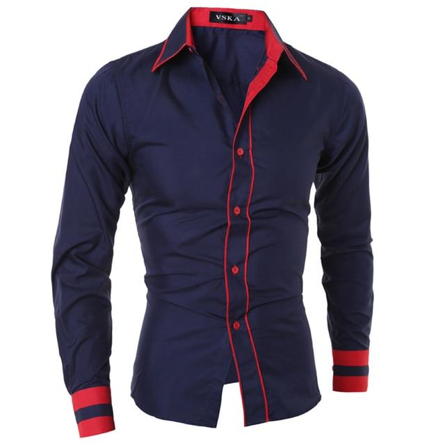 Men Shirt 2016 Fashion Brand Men'S Cuff Striped Long-Sleeved Shirt Male Camisa Masculina Casual Slim Chemise Homme XXL SJQWE