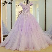 Romantic Lilac Evening Dresses Flower Puffy Long Prom Gowns Double V neck Floral Lace Formal Party Dress Court Style Women Gowns