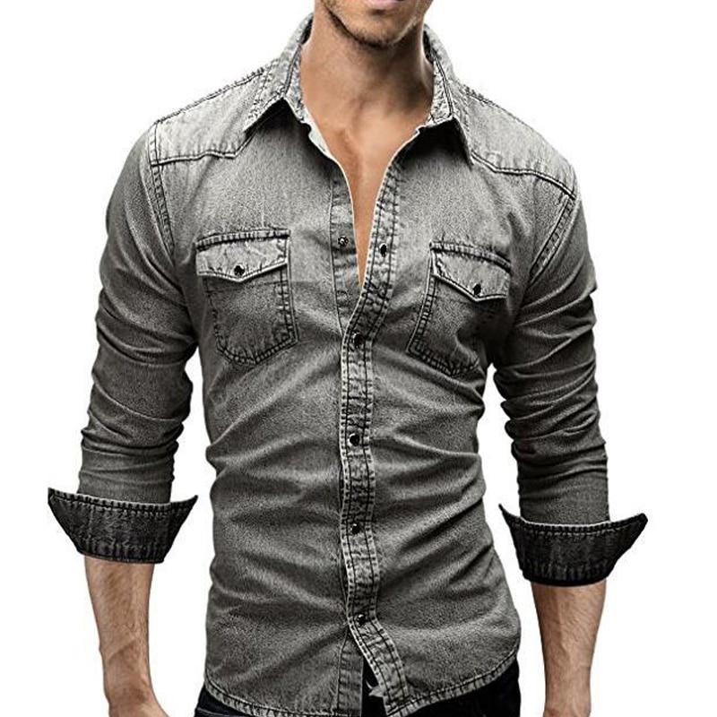 Denim Shirt Men 2018 Brand Long Sleeve Casual Retro Men