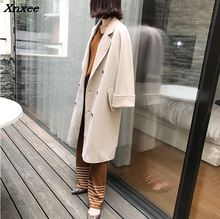 Long Winter Fashion Wool Coats England Style Wool Blend Coat and Jacket Double Breasted Coat Femenino Xnxee epaulet design single breasted wool blend jacket
