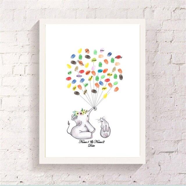 US $749 40 OFFWarm Sitting Elephant Rabbit Canvas Fingerprint Balloon  Signature Book Customized Guest Attendance Art Paper Souvenir Home Decor-in
