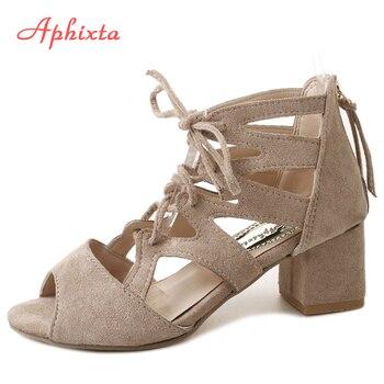 Aphixta Gladiator Peep Toe Women Sandals Cross-tied Zip Flock Summer Shoes Square Cover Heel Women Shoes Sandals Party sandalias sandal