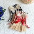 EMS DHL Бесплатная Доставка Блесток Полосой синий Красный Осень/Весну рукавом Симпатичные Лук Тюль Кружевном Платье полосатый туту платья 1-5 лет