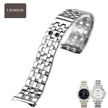 ISUNZUN Men Stainless Steel 18mm Watch Straps For Tissot 1853 T95 Series Metal Bracelet Width Wathchbands Silver/Half Gold