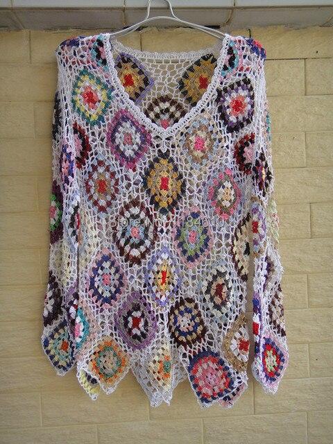Blanco para mujer ata Crochet blusas Top Granny Square Jumper en ...
