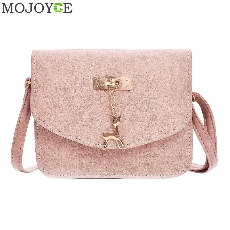 Retro Women Messenger Bags with Deer Toy Casual Crossbody Bag PU Leather Handbag Simple Mini Shoulder Bag Women Small Flap Bags 2017 summer metal ring women s messenger bags solid scrub leather women shoulder bag small flap bag casual girl crossbody bags