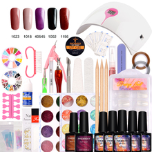 Nail Art Pro DIY Full Set Soak Off Uv Gel Polish Manicure set 36W Curing Lamp Kit any 5 colors&ampbase top Set nail gel nail too